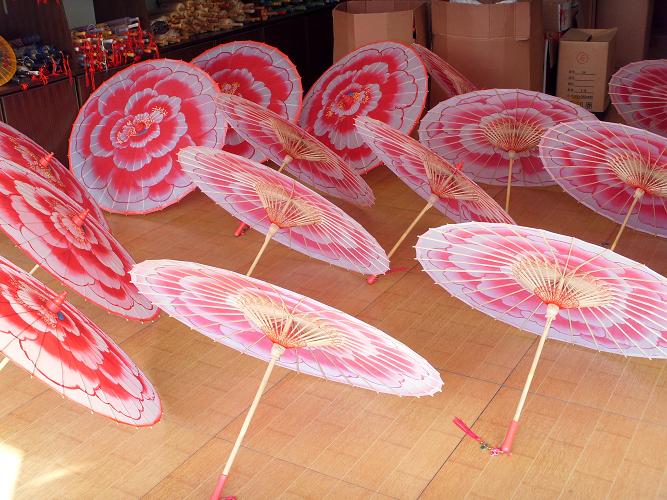 手绘牡丹稠布伞