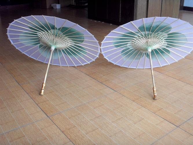 茉莉花形手绘透明丝伞