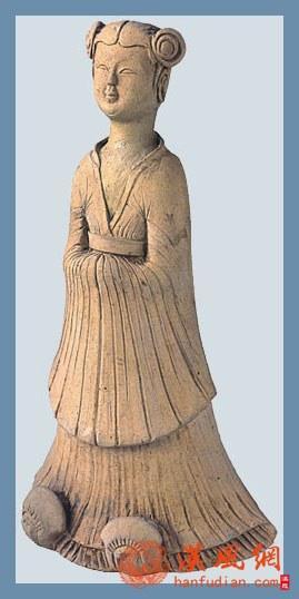 唐代仕女形象---素胎双髻女侍俑