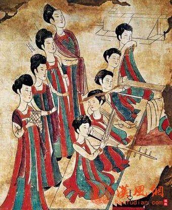 李寿墓演奏图(墓室北壁东侧)