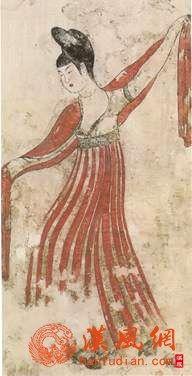 执失奉节墓舞女图(墓室北壁)