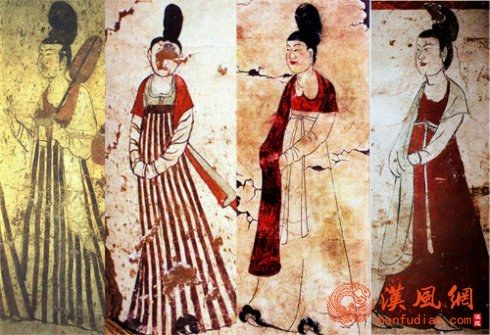 初唐半袖衣裙披帛的仕女形象