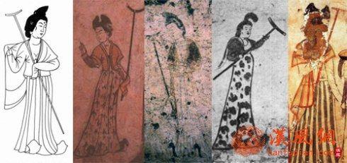 唐代壁画执丁字型杖的仕女形象