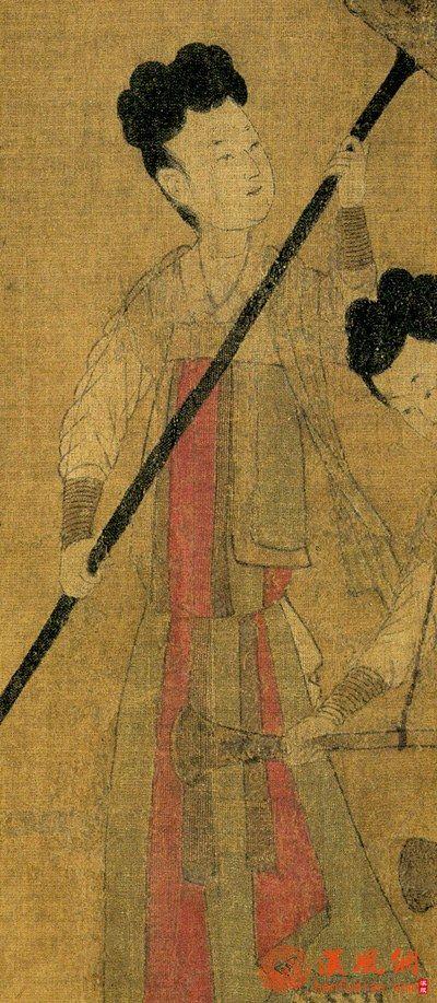 初唐 阎立本步辇图 红黄间色裙