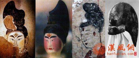 初唐壁画、陶俑半翻高髻与妆面形象
