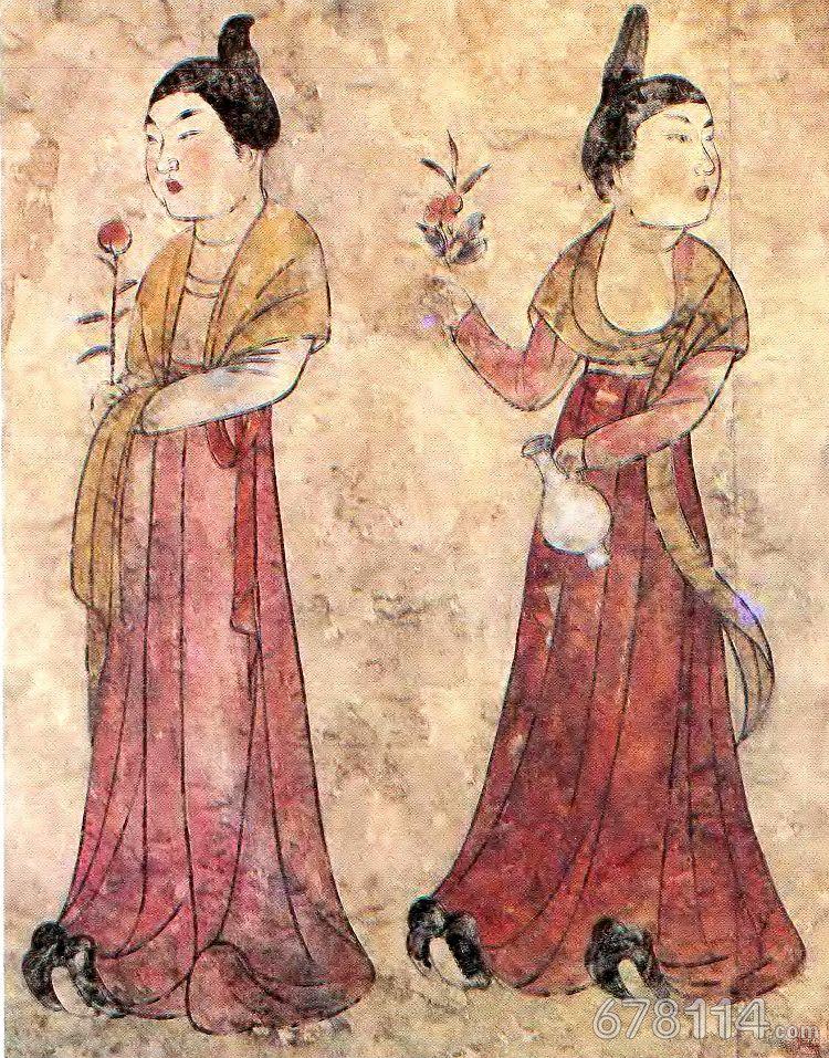 唐代女装 执花携瓶侍女图