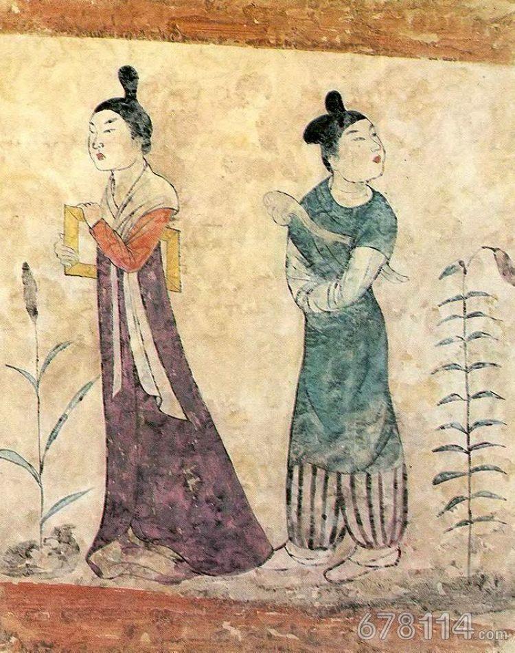 唐李凤墓壁画 执如意挟衾侍女图.