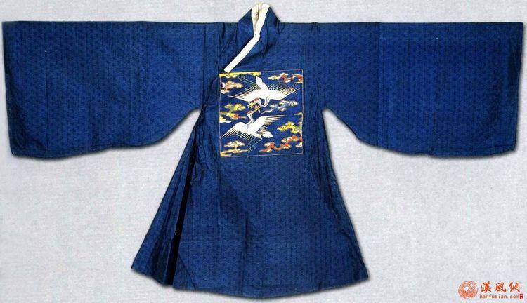 明:孔府旧藏--蓝暗花纱缀绣仙鹤交领补服