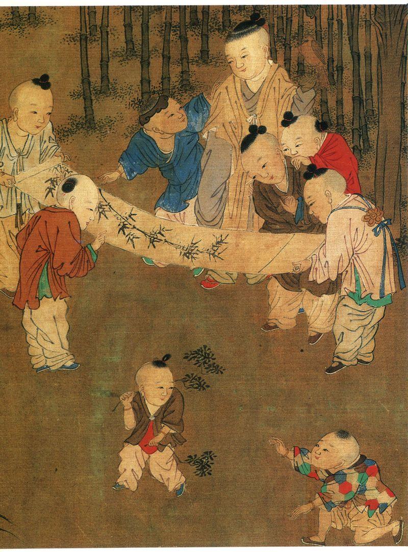 北宋苏汉臣《长春百子图卷》儿童汉服赏析