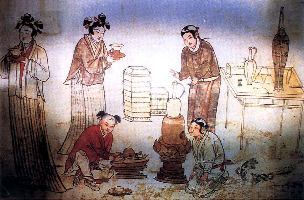 河北张家口宣化辽墓壁画-茶道图
