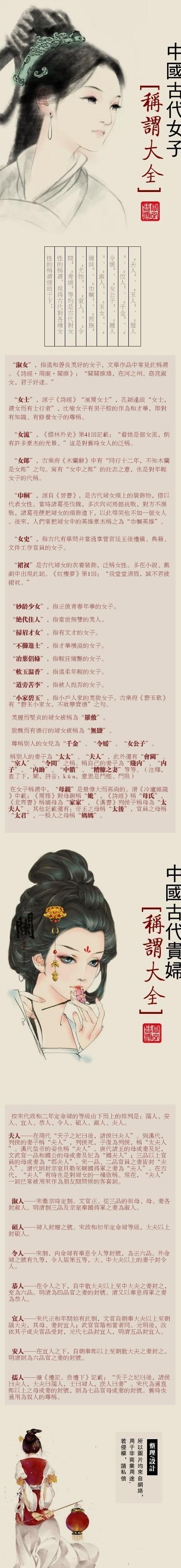 中国古代女子称谓大全!