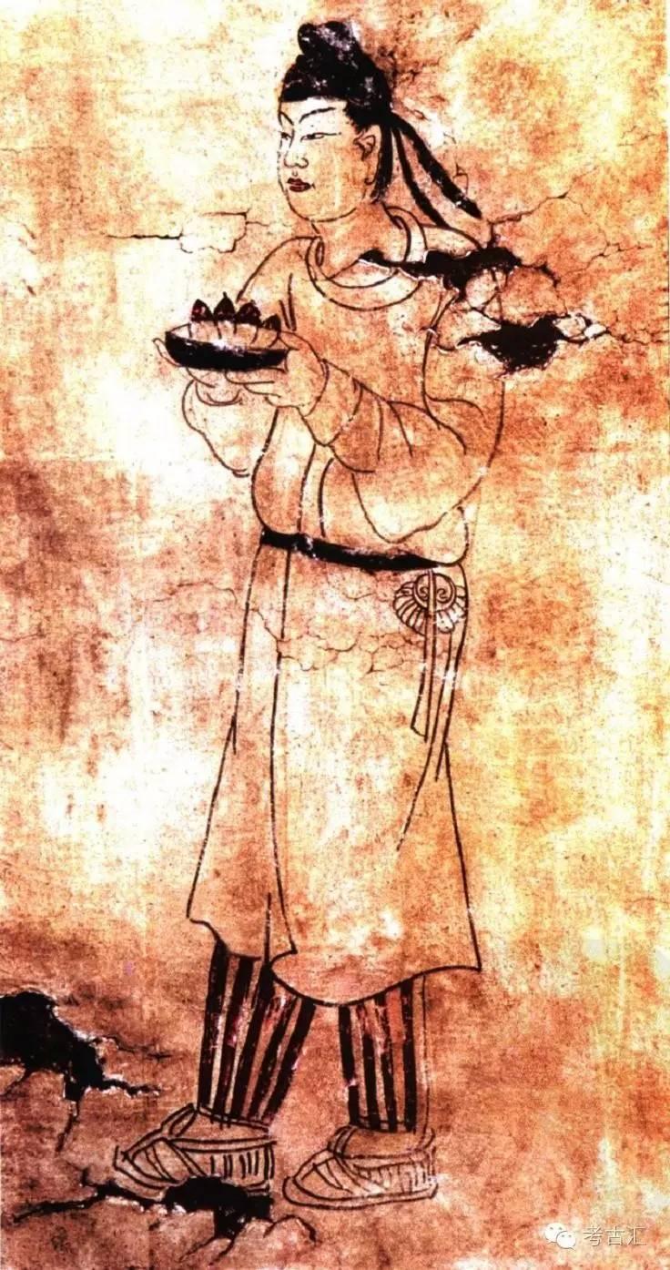 阿史那忠墓壁画《捧果盘男装女侍图》(摹本)